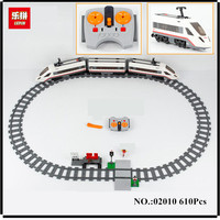PRESELL Lepin 02010 New 610Pcs Series The High Speed Passenger Train Building Remote Control Trucks Set