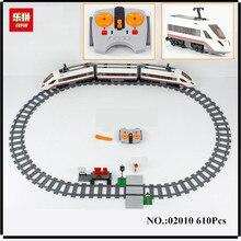 EN STOCK Lepin 02010 Nouveau 610 Pcs Série La Haute-vitesse Passagers Train Bâtiment À Distance-contrôle Camions Ensemble Blocs briques Toys60051