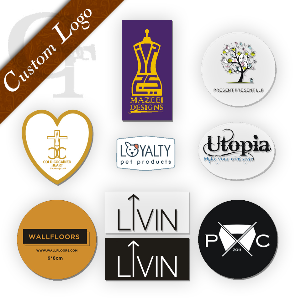 Custom/customized Brand Name Logo Printing Self-adhesive Vinyl Clear See-through Transparent PVC/paper Shipping Stickers Labels