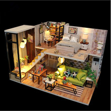 Cute Families House Miniature dollhouse with all Doll house Furniture Toys for Children Juguetes Brinquedos Valentine Gifts cute families house miniature dollhouse slow time loft villa wood diy dollhouse valentine gift kids toys for children
