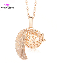 Фотография  Pryme Luxurious DIY Angel Wings Pendant Jewelry Maternity Ball Copper Sound Cage Angel Bola In long Necklace Women Jewelry L121