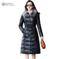 Long Women Genuine Leather Jacket Duck Down Coat 2018 New Warm Sheepskin Overcoats Winter Fox Fur Collar Slim Waist Parka Okb410