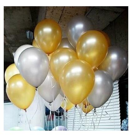 12inch 100pcs gold /siler ballon Latex Helium balloons Thickening Pearl Wedding