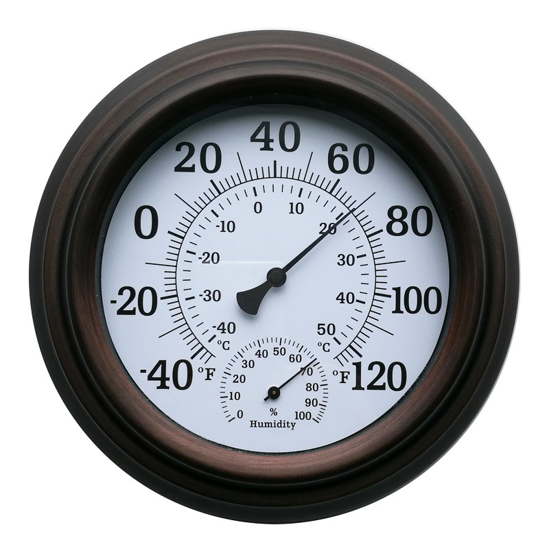 TH9200-BR 20cm iron shell temperature hygrometer painted antique copper Temperature and Humidity Meter -40 to 120F (-40 to 50C) temperature and humidity sensor protective shell sht10 protective sleeve sht20 flue cured tobacco high humidity