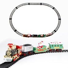 MEOA Christmas Train Battery Operated Railway Rail Electric Toys Car with Sound&Light Track Set Educational