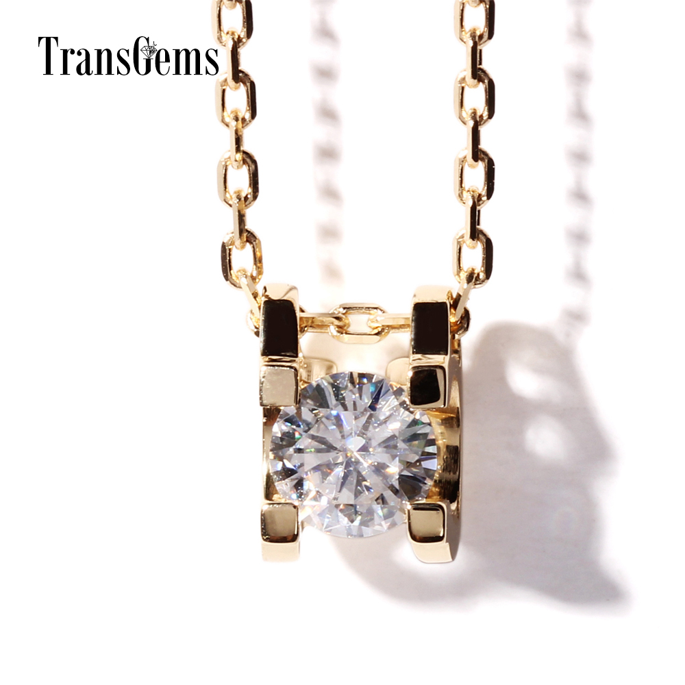 TransGems 0.4 Carat Lab Grown Moissanite Diamond Solitare Pendant Necklace Chain Solid 18K Yellow Gold Women Wedding Birthday transgems 1 carat lab grown moissanite diamond solitaire slide pendant solid 18k yellow gold for women wedding birthday gift