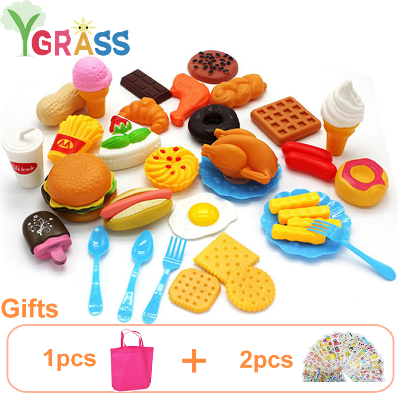 Kid's Kitchen Set Girls Toys Fast Food Pretend Play Cooking Games Miniature Foods Toy Dishes Products For Children