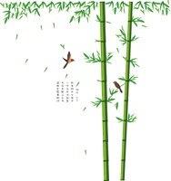 Diy Chinesischen Stil Große 2 teile/satz Bambus Dschungel Vögel Wandaufkleber Baum Leben Aufkleber Wandbilder Für Wohnzimmer Dekoration Wand poster