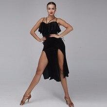 Vestito da Ballo Latino Delle Donne di Stile Del Vestito Latino Samba Costume Del Vestito Salsa Pratica Latino di Ballo di Usura Costumi di Velluto Nero di Usura di Ballo