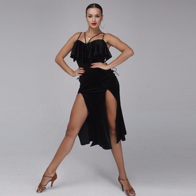 ชุดเต้นรำละตินผู้หญิงละตินสไตล์ samba เครื่องแต่งกาย Salsa ชุด Latin ปฏิบัติสวมใส่ชุดเต้นรำสีดำกำมะหยี่เต้นรำสวมใส่
