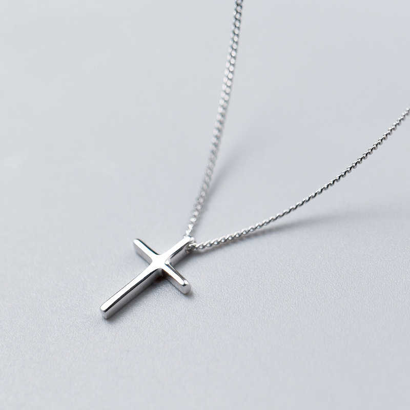 MloveAcc Classical Cross Necklaces & Pendant Real 925 Sterling Silver Necklace Jewelry Best Friend Gifts