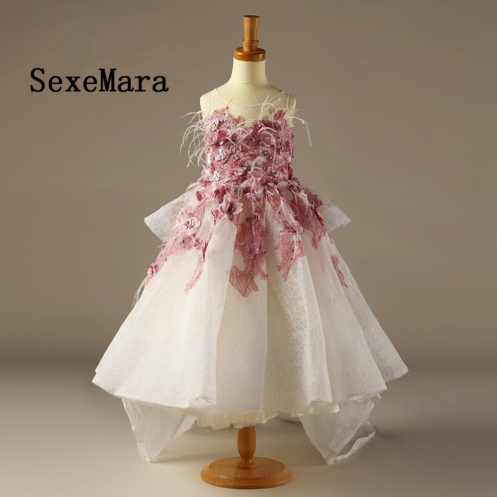 Luxury And High Quality Flower Girl Dress Real Picture Decorated With 3D Flowers Feathers Ball Gowns With Train Custom Made