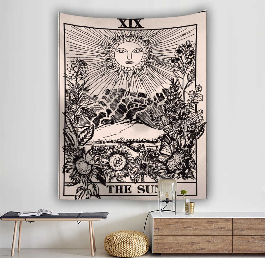 Wall Hanging Tarot Tapestry The Moon The Star Tapestry Polyester Fabric Tapestries Blanket Bedspread Beach Towels Picnic Mat