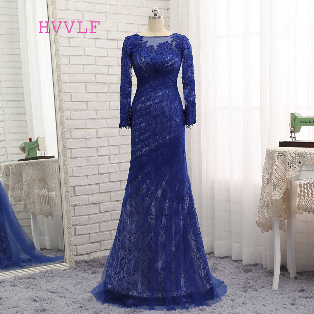 HVVLF Royal Blue Evening Dresses 2019 Mermaid Long Sleeves Lace Tulle Appliques Long Evening Gown Prom Dress Prom Gown