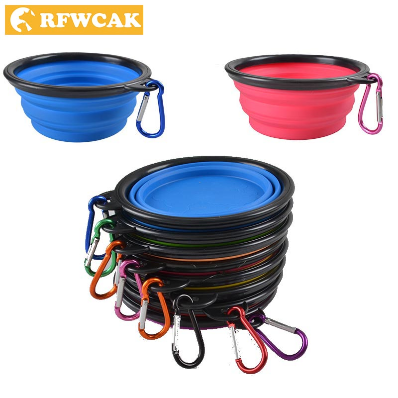 RFWCAK Foldable Silicone Dog Bowl Candy Color Outdoor Travel Portable Collapsible Puppy Feeding Dishes Water Bowl Shopping Free