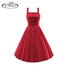 yilia 5 Solid Color Plus Size 3XL Women Vintage Dress Front Black Button Cami Casual Summer Dresses A Line Skater Dress