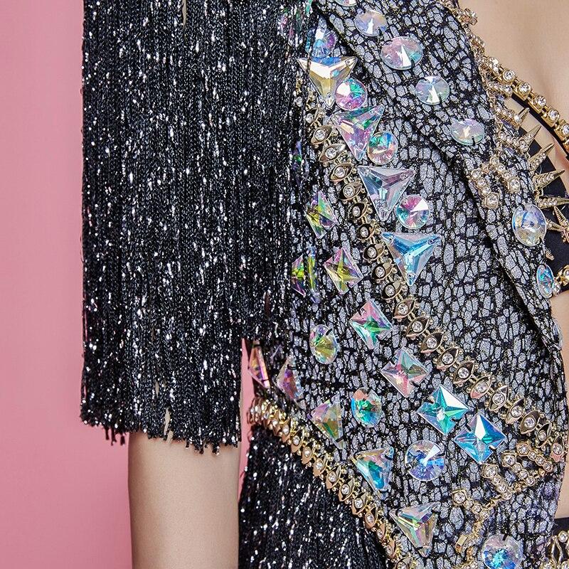 Femmes Star chanteur Concert Performance vêtements brillant strass glands Long manteau cristaux Bikini discothèque spectacle scène Costume - 6