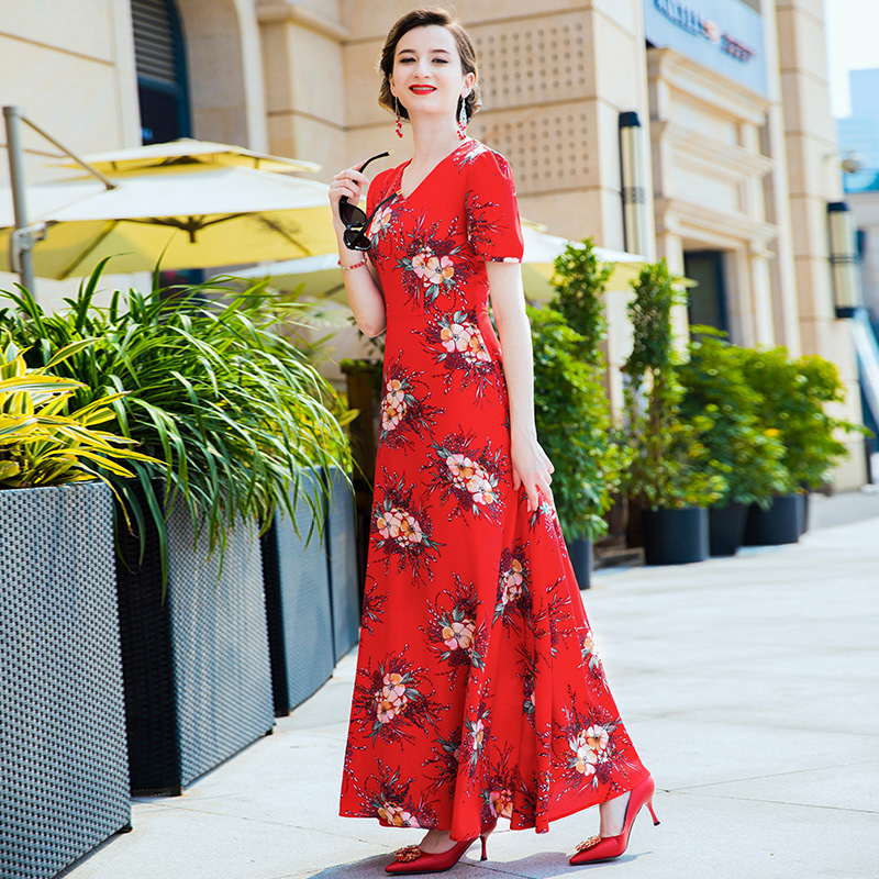 Fête d'été longue robe rouge imprimé Floral Boho plage robe tunique femmes soirée Club robe d'été Vestidos De Festa XXXL6808