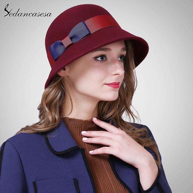 Sedancasesa Female Hats Autumn Winter Keep Warm Bucket Hats Women  Australian Wool Cloche Hat for Christmas Gifts FW003236 3c9d3402ffae