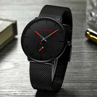 Hombres reloj crrju ver mujeres y superior de la marca de lujo de famoso vestido Relojes de moda Unisex Ultra delgado reloj de pulsera Relojes Para Hombre
