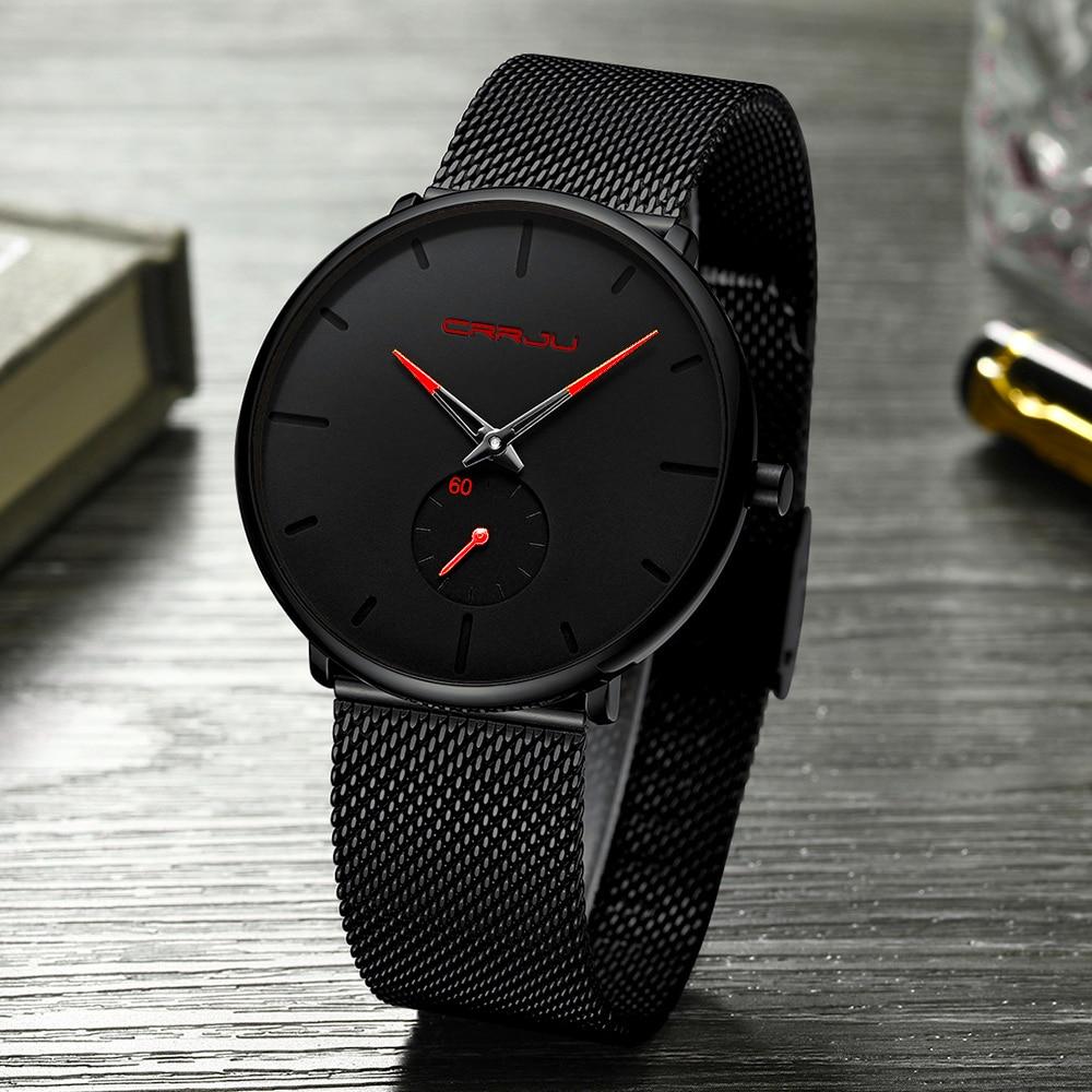 Men Watch CRRJU Watch Women And Top Brand Luxury Famous Dress Watches Fashion Unisex Ultra Thin Wristwatch Relojes Para Hombre