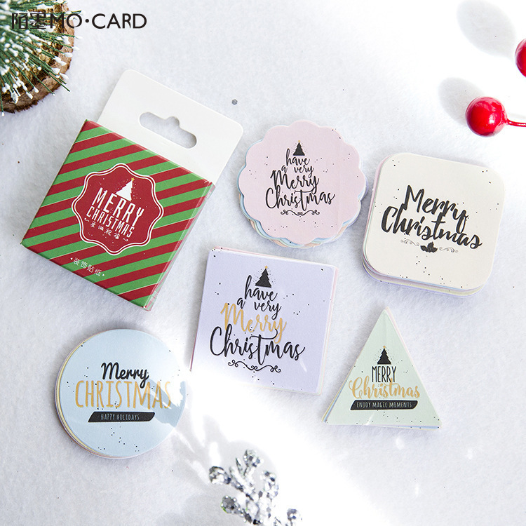 45 PCS/box New Christmas greeting Album Paper Lable Stickers Crafts And Scrapbooking Decorative Lifelog Sticker Cute Stationery 1box lot christmas gift christmas season organ folding christmas cards paper crafts scrapbooking cards gifts decoraiton