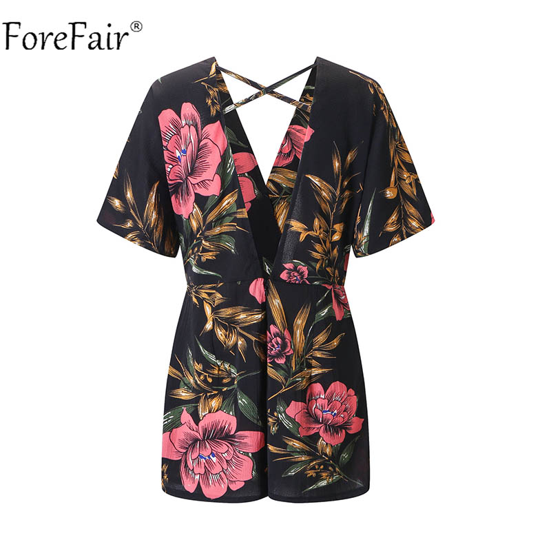 Forefair Black Sexy Backless Print Playsuits Women Floral Rompers Female V Neck Short Loose Bohemian Jumpsuit Plus Size 4