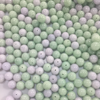 wholesale Round beads Natural Light green Type A Myanmar Jadeite Jade Fine DIY Bracelet or Earring Accessoriest For Women's image