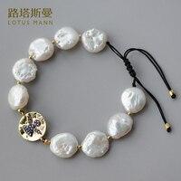 Lotus Mann tarte Rond baroque perle pendentif bracelet La réglable
