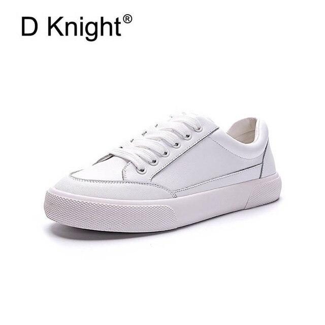 49480ad55 Tênis Branco de Couro genuíno Das Mulheres Casuais Sapatos Flats 2019  Primavera Rendas Até Sapatos de Plataforma de Couro de Vaca Para A Mulher  Meninas do ...