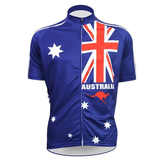 Alien Sports Wear Australia Flag Pattern Cycle Clothing Men Short Sleeve  Full Zipper Bike Apparel Size XS-5XL f291aad78