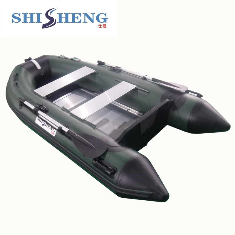 SHICHENG Brand high quality 0.9mm pvc boat/army green inflatable boat made in China 2017 aluminum floor inflatable folding boat 300cm army green and black for sale