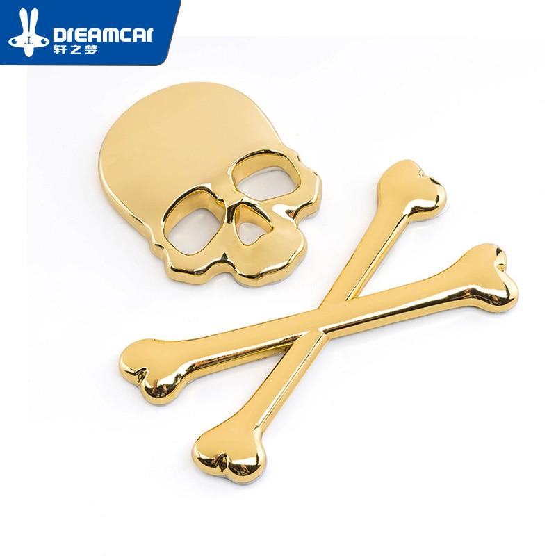 Exterior Accessories Fine 5*3.2 Cm Golden Color Skull 3d Car Stickers Silver Metal Car Accessories Creative Chromium Styling 3d Car Sticker