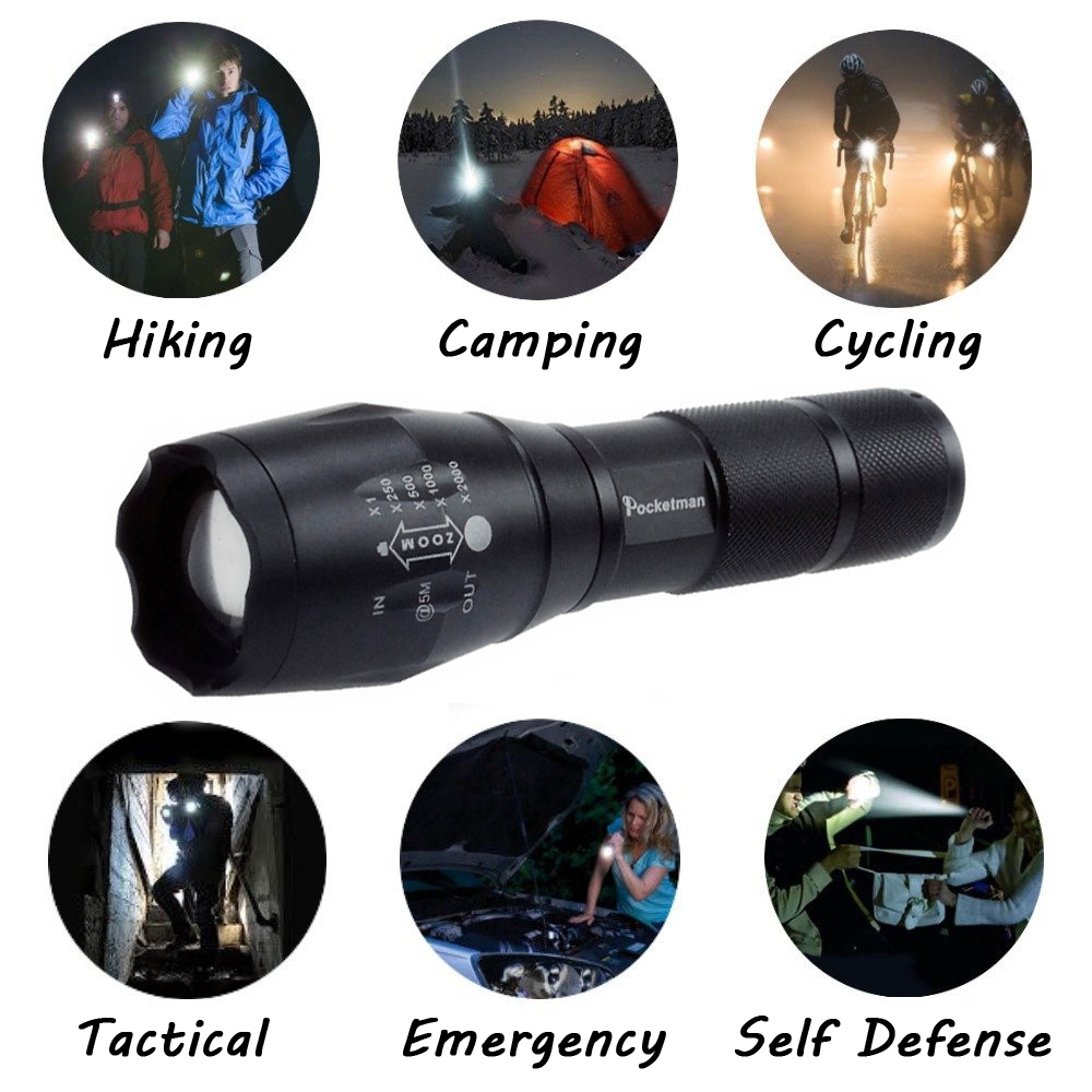 Купить с кэшбэком LED Flashlight 3800 Lumens Tactical Flashlight XM-L T6 LED Torch Zoomable light For 3xAAA or 1x18650 Camping Hiking