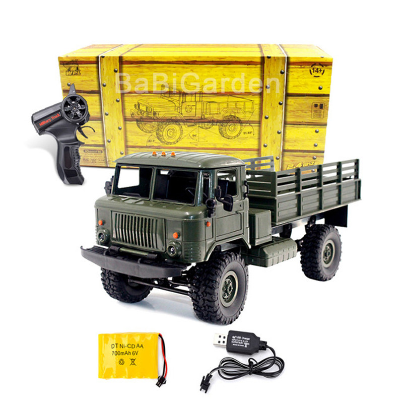 WPL B-24 1/16 RC Climbing Military Truck Remote Control Car 4-wheel with LED Light RC Truck Model Vehicles Gifts for Toy remote control 1 32 detachable rc trailer truck toy with light and sounds car