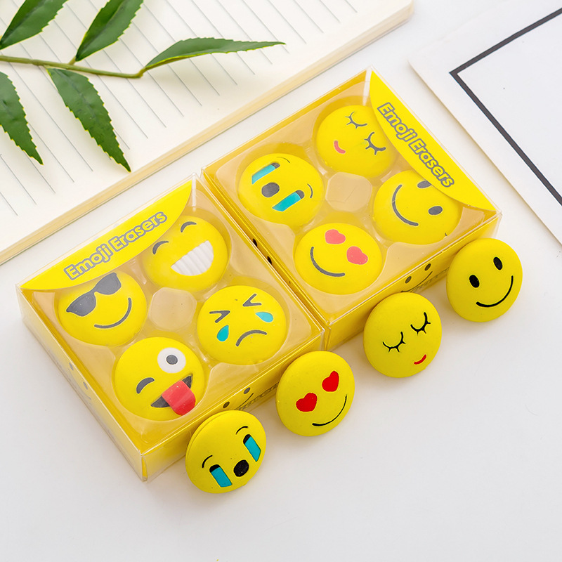 4 Pcs/pack Cute Emoji Erasers Cartoon Animal Writing Drawing Rubber Pencil Eraser Stationery For Kids Gifts School Supplies