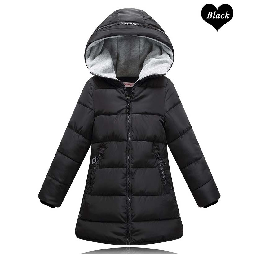 2017 Fashion Kids Big Girls Padded Parka Fall Winter Thermal Warm Cotton Hooded Jacket Coats Green Red Black Children's Clothing