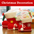 2017 New Hot Flocking Boots Socks Creative Gift Box Candy Decorative Red Pink Boots for Home Christmas Holidy Decoration 4 Sizes