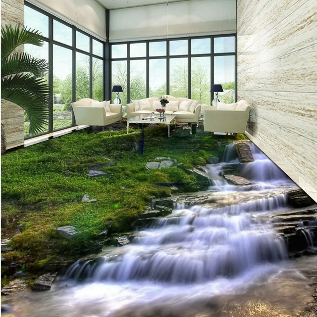 Free Shipping Fine Water Flowing Stream Natural Green Landscape 3d Floor  Self Adhesive Study Square