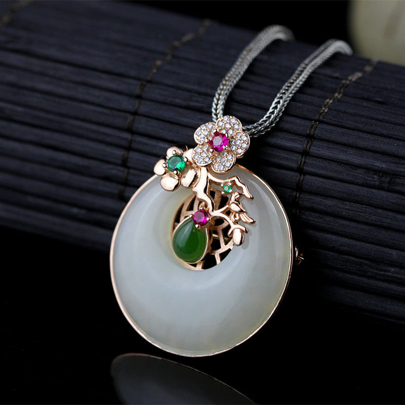 S925 серебро с позолотой модные Seiko естественно безопасной пряжкой и нефрит кулон двойного назначения Jewelry Бесплатная доставка
