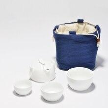 Ceramic Portable Tea Pot With Bag White Porcelain Kung Fu Tea Set 1 Pot 3 Cups Hand Made Teapot Kettle Travel Set Gaiwan vintage travel tea set include 1 pot 4 cups ceramic portable tea pot hand made kung fu tea tea cups chinese gaiwan tea kettle