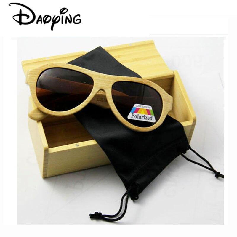 07d4242c62bd1 Daoying 2016 hombres de bambú hecha a mano escudo Gafas de sol y vintage  madera redonda Gafas de sol con lente polarizada