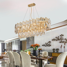 Crystal Chandelier Lighting Modern Oval Cristal Chandeliers Hanging Light Fixture for Living Dining Room Restaurant Decor modern crystal chandeliers for dining room gold crystal chandelier pendants crystal light fixtures ceiling chandelier lighting