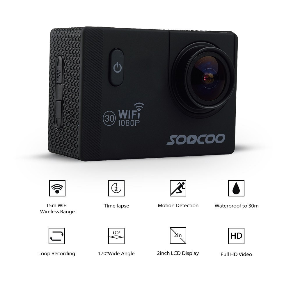 SOOCOO C10S Sports Action Camera 2.0 Inch HD LCD Screen 170 Degrees Wide Angle 60M Waterproof Outdoor Camera (1)