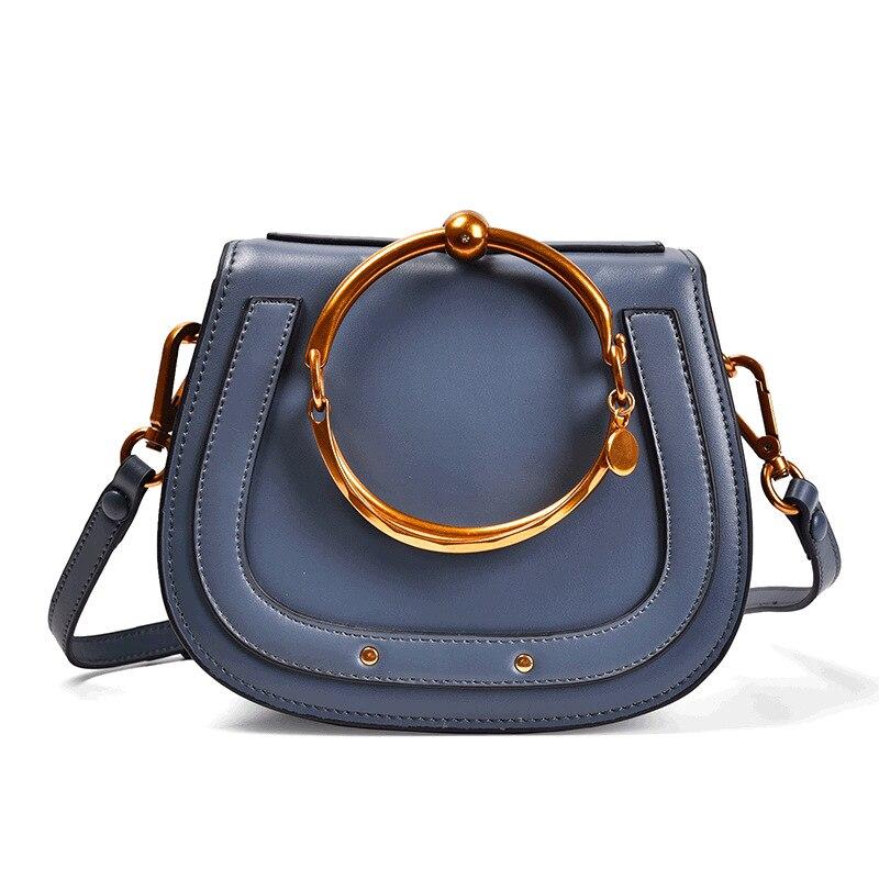 LOEIL Handbag star with retro bracelet ring saddle bag leather female slung shoulder bag retro rhinestone rattan butterfly bracelet with ring