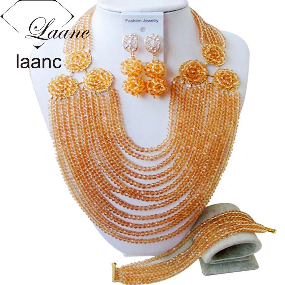 Brand Laanc Nigerian Wedding African Beads Jewelry Set Crystal Gold Champagne Costume Necklace Dubai Jewellery