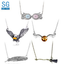 SG Movie HP Flying Broomstick Quil Necklaces Hedwig Owl Luna Lovegood Glasses Hat Golden Snitch Horcrux Locket Hogwarts Jewelry(China)