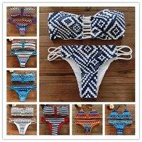2015 Women Bandeau Bikini Reversible Print Swimsuit Strappy Swimwear Biquini Trikini 1112