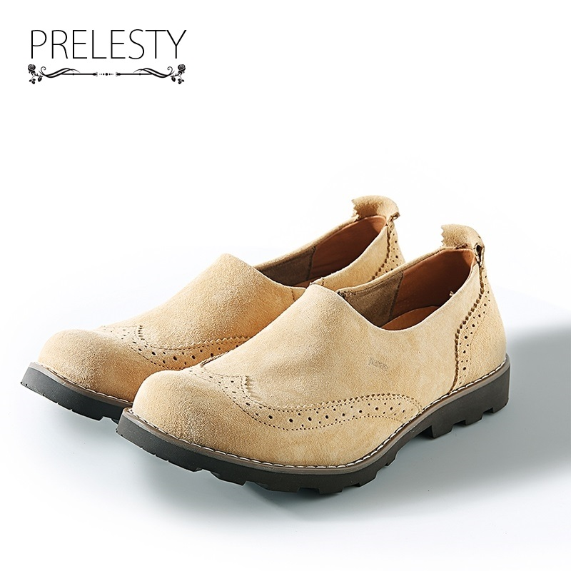 Prelesty 2018 Men Shoes Casual Genuine Leather Bullock Oxfords Shoes Mens Flats Slip On Vintage High Quality Zapatos Hombre dxkzmcm new men flats cow genuine leather slip on casual shoes men loafers moccasins sapatos men oxfords
