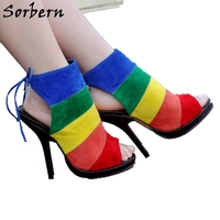 Sorbern Colorful Mixed Pump High Heels Peep Toe Lace Up Slingbacks Open Heels Spring Style Stiletto Heels Womens Shoes Size 12